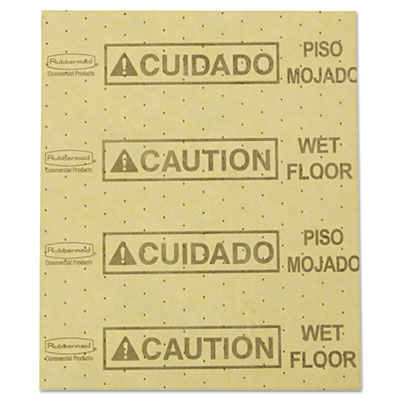 "Over-the-Spill Pad, ""Caution Wet Floor"", Yellow, 16 1/2"" x 20"", 25 Sheets/Pad"