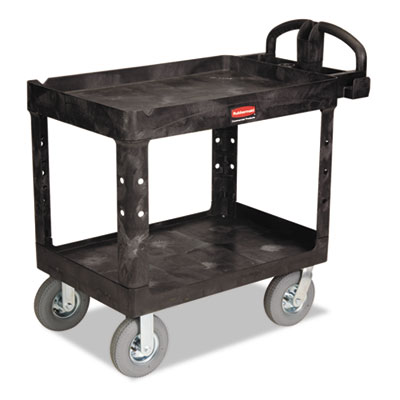 Heavy-Duty Utility Cart, Two-Shelf, 25-7/8w x 45-1/4d x 37-1/8h, Black