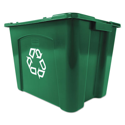 Recycling Box, Rectangular, 14 gal, Green