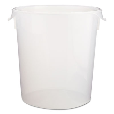 "Round Storage Containers, Clear, 22qt, 13 1/8""Dia x 14""H, Polypropylene,6/Crtn"
