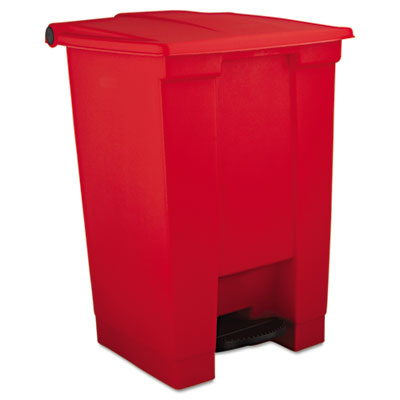Indoor Utility Step-On Waste Container, Square, Plastic, 12gal, Red