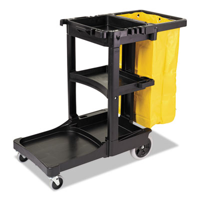 Multi-Shelf Cleaning Cart, Three-Shelf, 21-3/4w x 46d x 38-3/8h, Blue