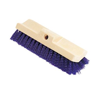 Bi-Level Deck Scrub Brush, Polypropylene Fibers, 10 Plastic Block, Tapered Hole