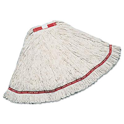Web Foot Wet Mop, Cotton/Synthetic, White, Medium, 1