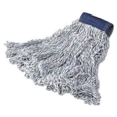Super Stitch Finish Mops, Cotton/Synthetic, White, Medium, 5-in. Blue Headband