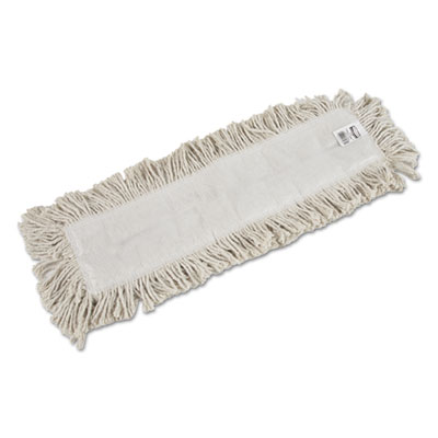 "Cut-End Blended Dust Mop Heads, Cotton, 24"" x 5"", White, 12/Carton"