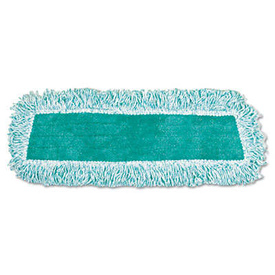 Standard Microfiber Dust Mop With Fringe, Cut-End, 18 x 5, Green, 12/Carton