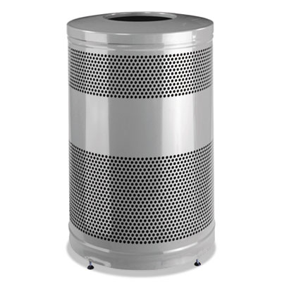 Classics Open Top Waste Receptacle, 51 gal, Stardust Silver Metallic w/Black Lid