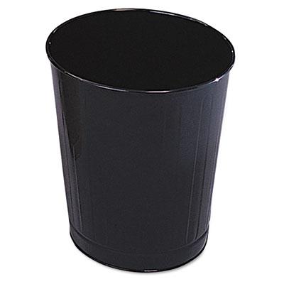 Fire-Safe Wastebasket, Round, Steel, 6 1/2 gal, Black, 6/Carton