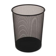 Steel Mesh Wastebasket, Round, 5gal, Black