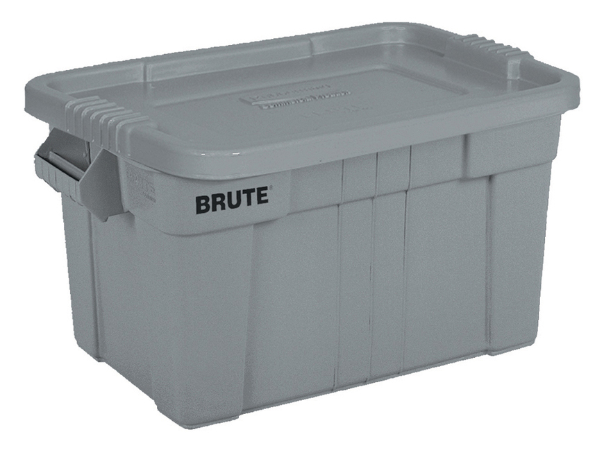 Masco 1836781 Brute Tote With Standard Snap Lid, 20 gal, 27-7/8 in L x 17-3/8 in W x 15 in H, Gray