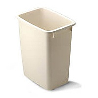 Rubbermaid FG280500BISQU Waste Basket, 21 qt, 15.81 in L X 13.01 in W X 8.72 in H, Plastic, Bisque