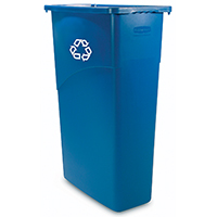 Rubbermaid FG354075BLUE Slim Jim Recycling Container, 23 gal 20 in L x 11 in W x 30 in D, Polyethylene, Blue