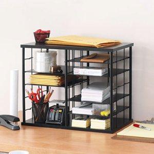 12-Slot Organizer, MDF, Desktop Sorter, 21 x 11 3/4 x 16, Black