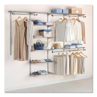 "Configurations Custom Closet Deluxe Kit, 9 Shelves, 48"" to 96""w x 16""d x 47.5""h, Titanium"