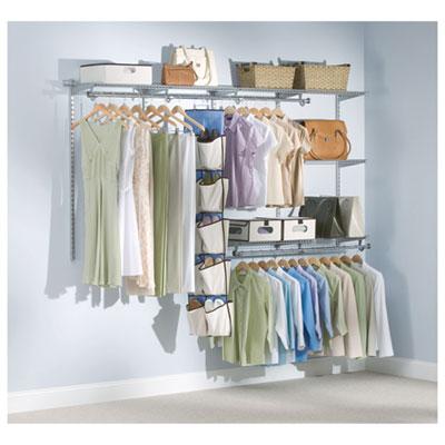 "Configurations Custom Closet Starter Kit, 5 Shelves, 48"" to 96""w x 16""d x 47.5""h, Titanium"