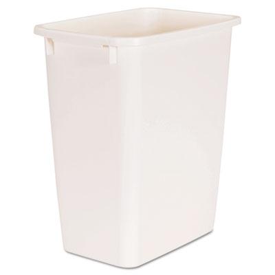 Open-Top Wastebasket, Rectangular, Plastic, 5 1/4 gal, Bisque