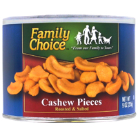 Family Choice 808 Cashew Pieces, 9 oz Resealable Can, Salted