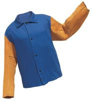 """Radnor+ 2X 30"""" Royal Blue 9 Ounce Westex+ Proban+ FR7A+ Cotton Flame Retardant Jacket With Snap Front Closure And Cowhide Leathe"""