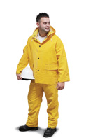 Radnor+ X-Large Yellow .35 mm PVC And Polyester Rain Suit With Bib Style Pants, Jacket With Storm Flap Front, Detachable Hood Wi at Sears.com