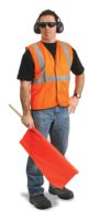"Radnor+ 2X - 3X Orange Lightweight Mesh Classic Economy Vest With Front Hook And Loop Closure, 2"" Silver Reflective Tape Stripin"