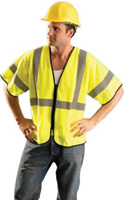 "Radnor+ 4X - 5X Hi-Viz Yellow Polyester And Mesh Class 3 Value Vest With Zipper Front Closure, 2"" Silver Reflective Tape Stripin"