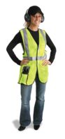 "Radnor+ Large Yellow Lightweight Polyester Class 2 Break-Away Vest With Front Hook And Loop Closure, 2"" 3M+ Scotchlite+ Reflecti"