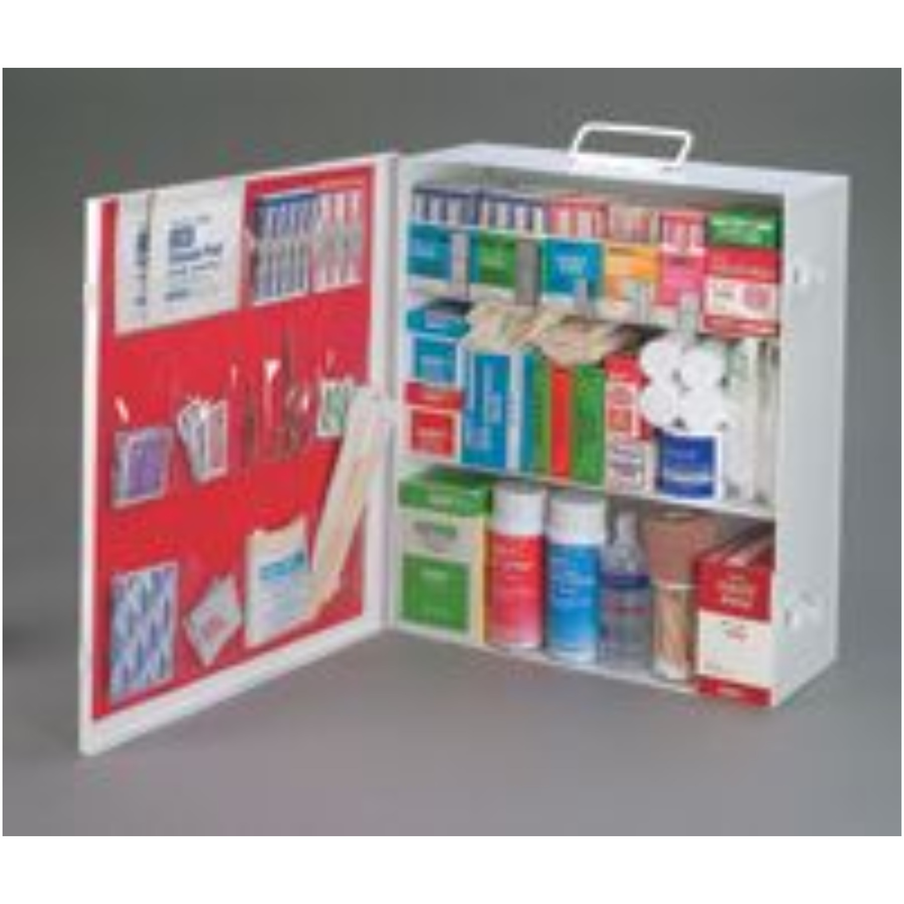 Radnor+ Three-Shelf 25 Person Durable Metal Industrial First Aid Cabinet