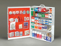 Radnor+ Five-Shelf 100 Person Durable Metal Industrial First Aid Cabinet