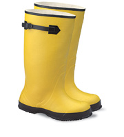 "Radnor+ Size 8 Yellow 17"" Rubber Plain Toe Over-The-Shoe-Boot With Fabric Inner Lining, Side Strap And Black Ribbed Outsole"