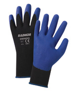 Radnor+ Large Black Air Infused PVC Palm Coated Gloves WIth 15 Gauge Seamless Nylon Knit Liner