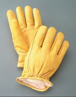 Radnor+ Large Yellow Deerskin Thinsulate+ Lined Cold Weather Gloves With Keystone Thumb, Slip On Cuffs, Double Stitched Hem And