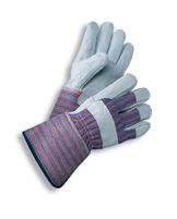 Radnor+ X-Large Select Shoulder Grade Split Leather Palm Gloves With Rubberized Gauntlet Cuff, Striped Canvas Back And Reinforce