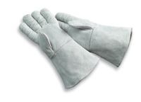 "Radnor+ Large Pearl Gray 14"" Economy Grade Shoulder Split Cowhide Cotton Sock Lined Welders Gloves With Wing Thumb, Fully Welted"