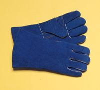 "Radnor+ Large Blue 14"" Premium Side Split Cowhide Cotton/Foam Lined Insulated Left Hand Welders Glove With Wing Thumb, Welted Fi"