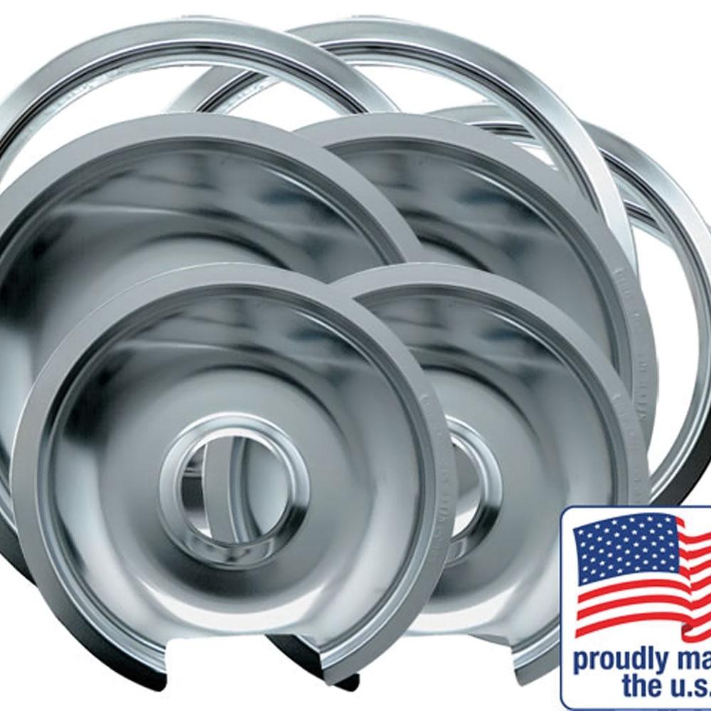 "Drip Pan & Trim Ring Chrome 2 Small / 6"" & 2 Large / 8"" each, 8 Pk"