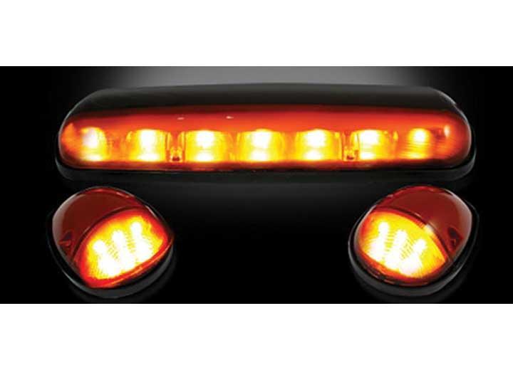 02-07 GM SILVERADO/SIERRA HD CLASSIC CAB ROOF LIGHTS AMBER LENS BLACK BASES AMBER LEDS (3PC)
