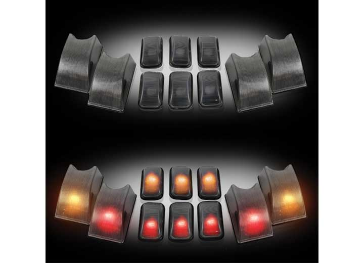 02-10 H2 SMOKE CAB ROOF LIGHT LENSES 5 AMBER FACE FWD/5 RED FACE REAR 194 XENON BULBS (10PC)
