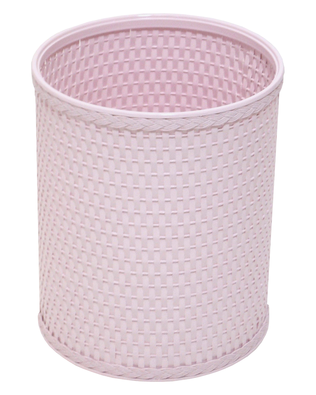 Redmon Chelsea Collection Decorator Color Round Wicker Wastebasket - Crystal Pink
