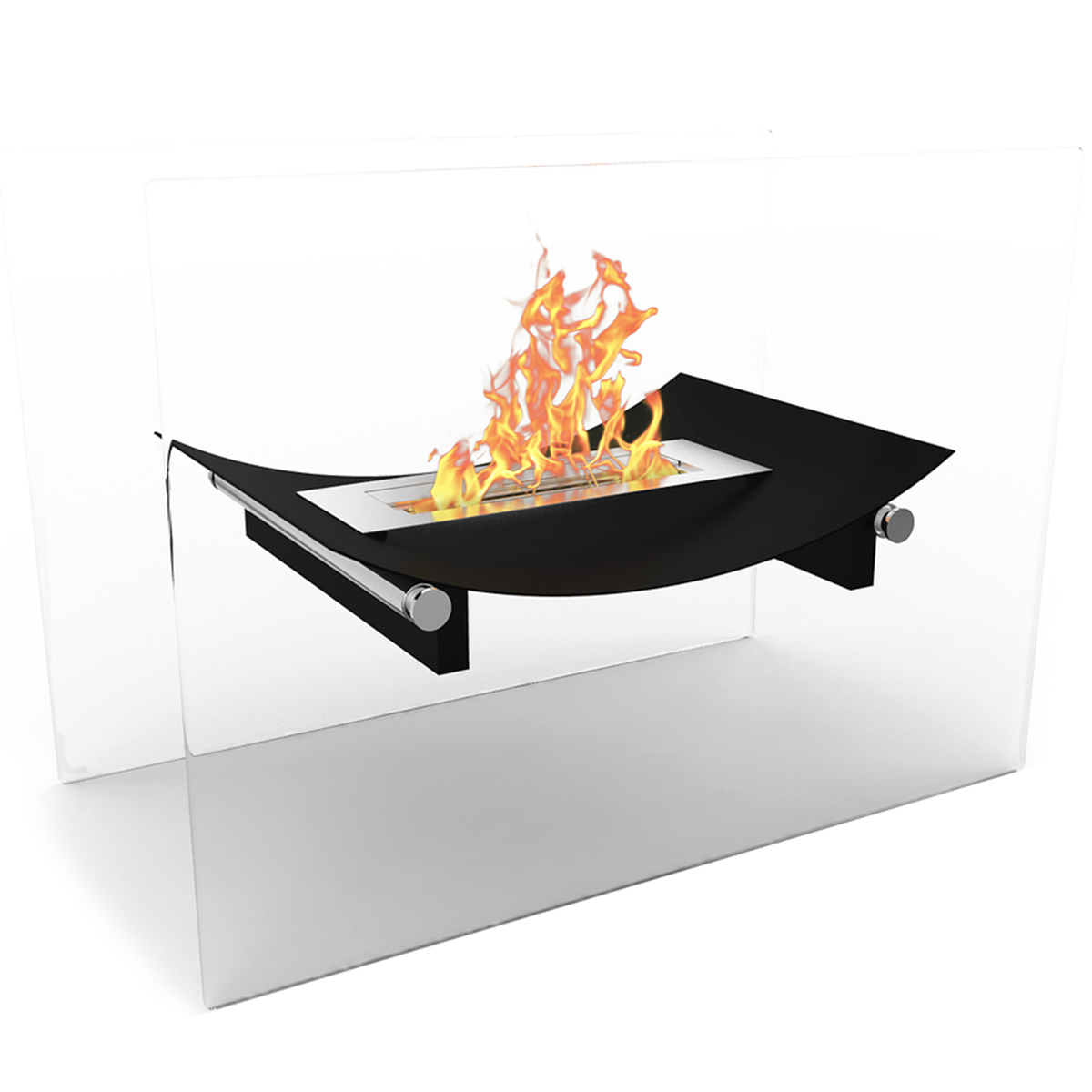Regal Flame Black Alor Ventless Free Standing Ethanol Fireplace Can Be Used as a Indoor, Outdoor, Gas Log Inserts, Vent Free, El