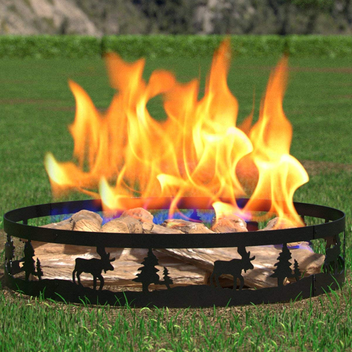 """Regal Flame Moon and Stars 36"""" Wood Fire Pit Fire Ring - Heavy-Duty and Perfect for RV, Camping, and Outdoor Fireplace"""