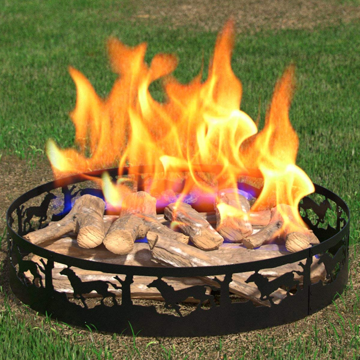 Regal Flame Boston Backyard Garden Home Deer and Trees Light Wood Fire Pit Fire Ring. For RV, Camping, and Outdoor Fireplace. Wo
