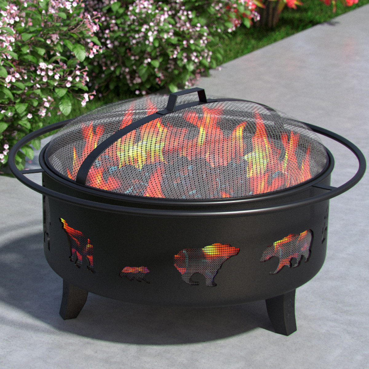 """Regal Flame Bear Moose Fox 28"""" Wood Fire Pit Fire Ring Heavy-Duty and Perfect for RV, Camping, and Outdoor Fireplace"""