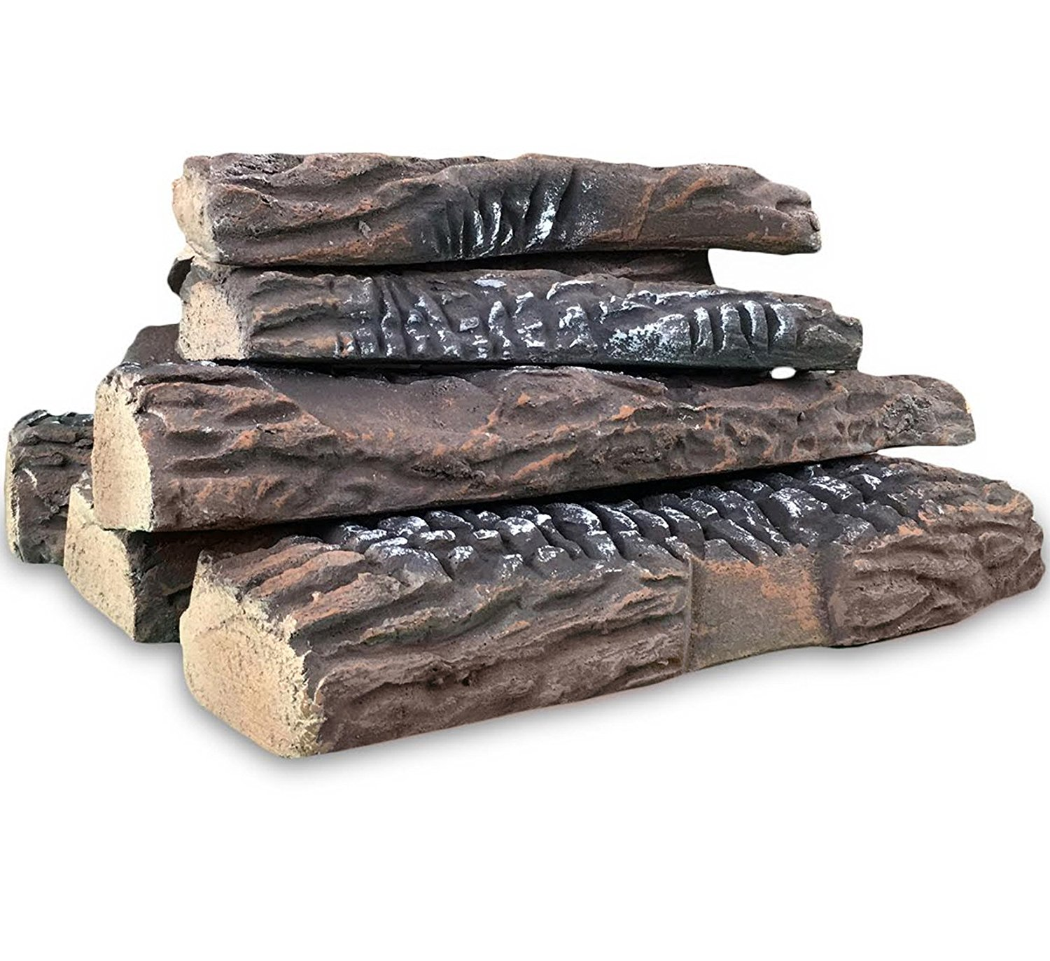Regal Flame 5 Piece Set of Ceramic Wood Large Gas Fireplace Logs Logs for All Types of Indoor, Gas Inserts, Ventless & Vent Free