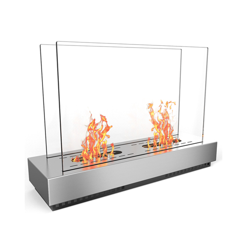 Moda Flame Stainless Steel Phoenix Ventless Free Standing Ethanol Fireplace Can Be Used as a Indoor, Outdoor, Gas Log Inserts, V