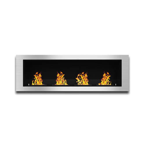 Moda Flame Wraith 64 Inch Ventless Built In Recessed Bio Ethanol Wall Mounted Fireplace