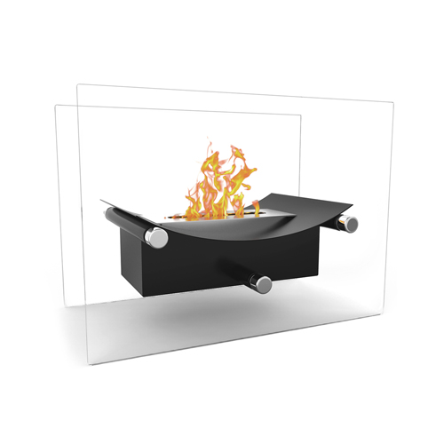 Regal Flame Arkon Ventless Indoor Outdoor Fire Pit Tabletop Portable Fire Bowl Pot Bio Ethanol Fireplace in Black - Realistic Cl