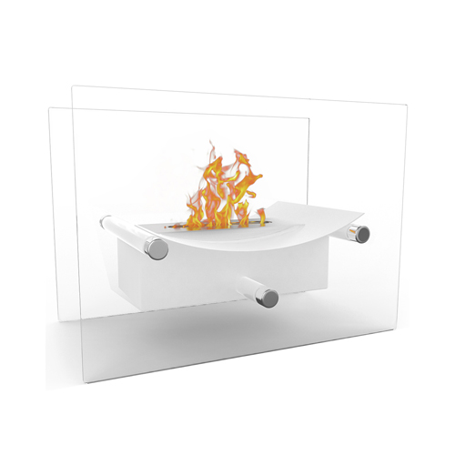 Moda Flame Arkon Ventless Indoor Outdoor Fire Pit Tabletop Portable Fire Bowl Pot Bio Ethanol Fireplace in White - Realistic Cle