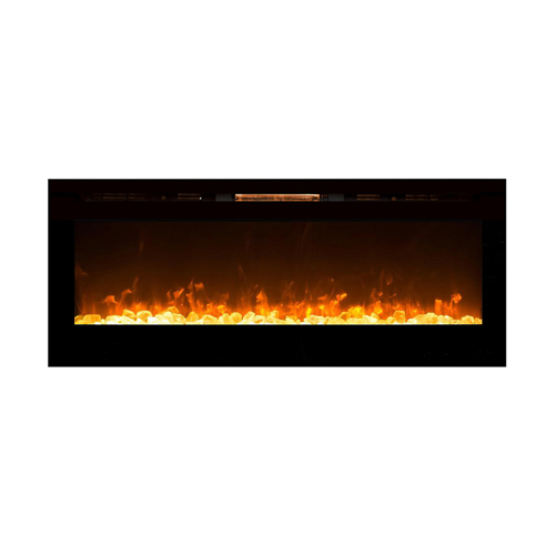 """Gibson Living 23"""" Flat Pebble, Crystal, Log Ventless Heater Electric Fireplace Insert, Black Frame - 3 Color Changing Settings"""