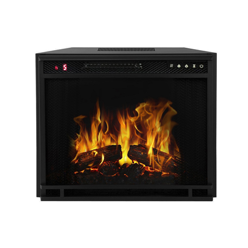 """Moda Flame 28"""" Flat Pebble, Crystal, Log Ventless Heater Electric Fireplace Insert, Black Frame - 3 Color Changing Settings"""